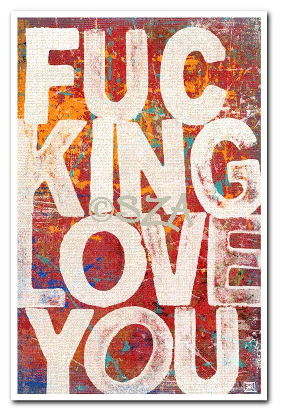 Valentine Decor Typography Art Print Adult Language by vulgART