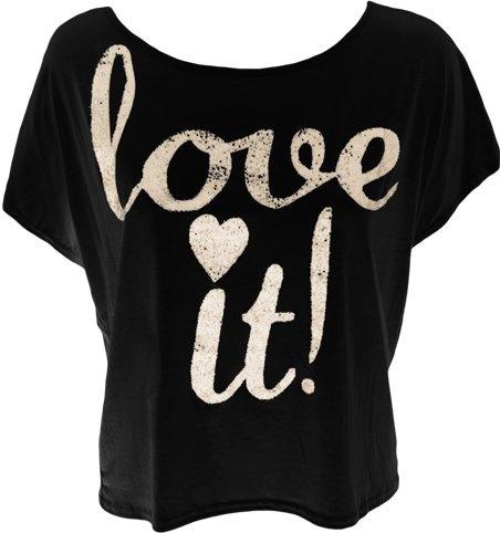 Ladies Glitter Print T-shirt Crop Off Shoulder Top Womens Sleeveless Vest Black 12/14
