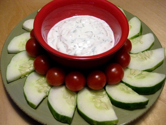 Snack Attack: Nonfat Yogurt Dill Dip and Veggies healthy-shmealthy
