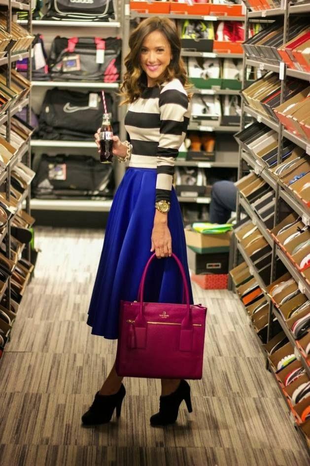 women fashion clothing outfit style blue skirt handbag purple top ...