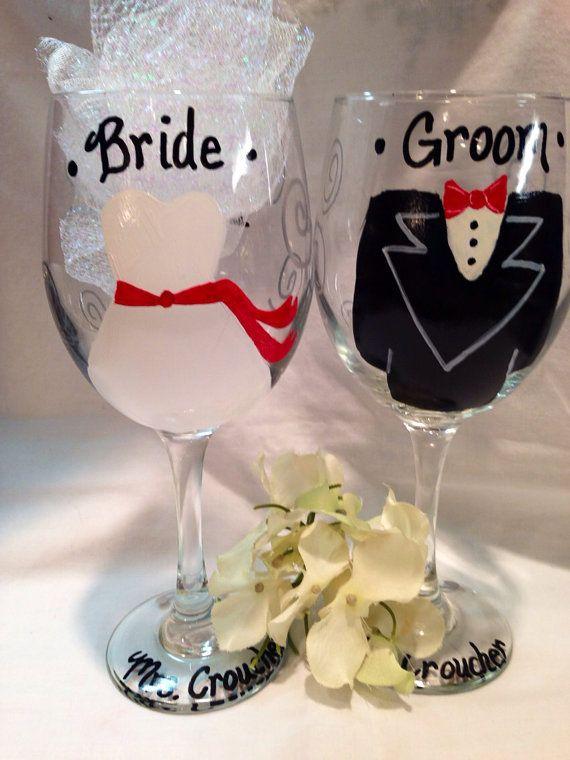 Wedding Gifts Wine Glasses : Wedding Wine Glasses, Wedding Gift, Wedding Glasses, Bride Groom Glass ...