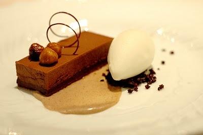 Cocoa nib crema, hazelnut, and chocolate with the light fior di latte ...