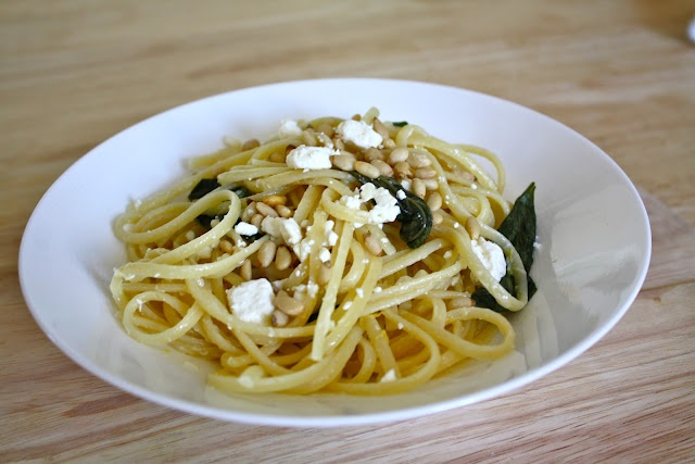 Linguine with Lemon, Feta and Basil) | Healthier food to try | Pinter ...