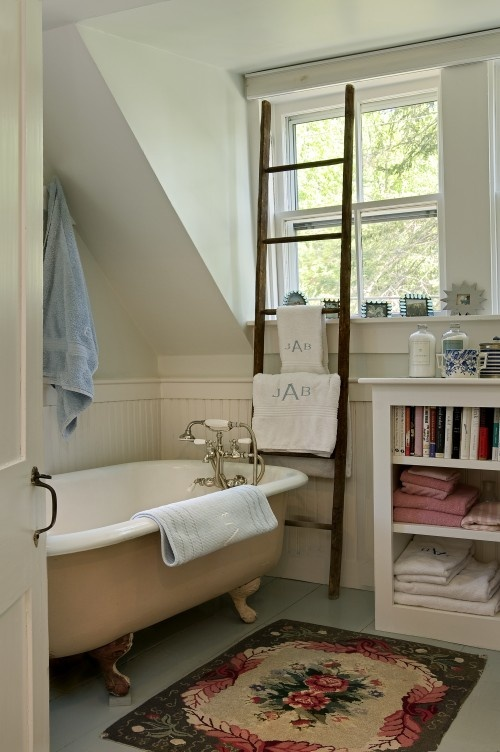 Rug, bookcase, ladder, tub=quaint