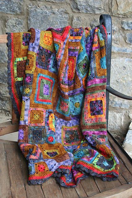 wedewschool's Babette blanket of solid squares - Beautiful use of variegated yarns!  #crochet