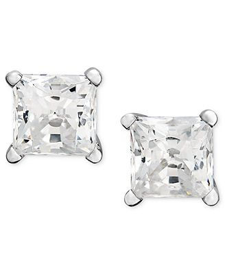... White Gold Near Colorless Princess Cut Diamond Stud Earrings l Macy's