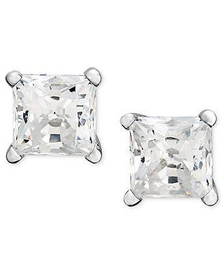 ... White Gold Near Colorless Princess Cut Diamond Stud Earrings l Macy's