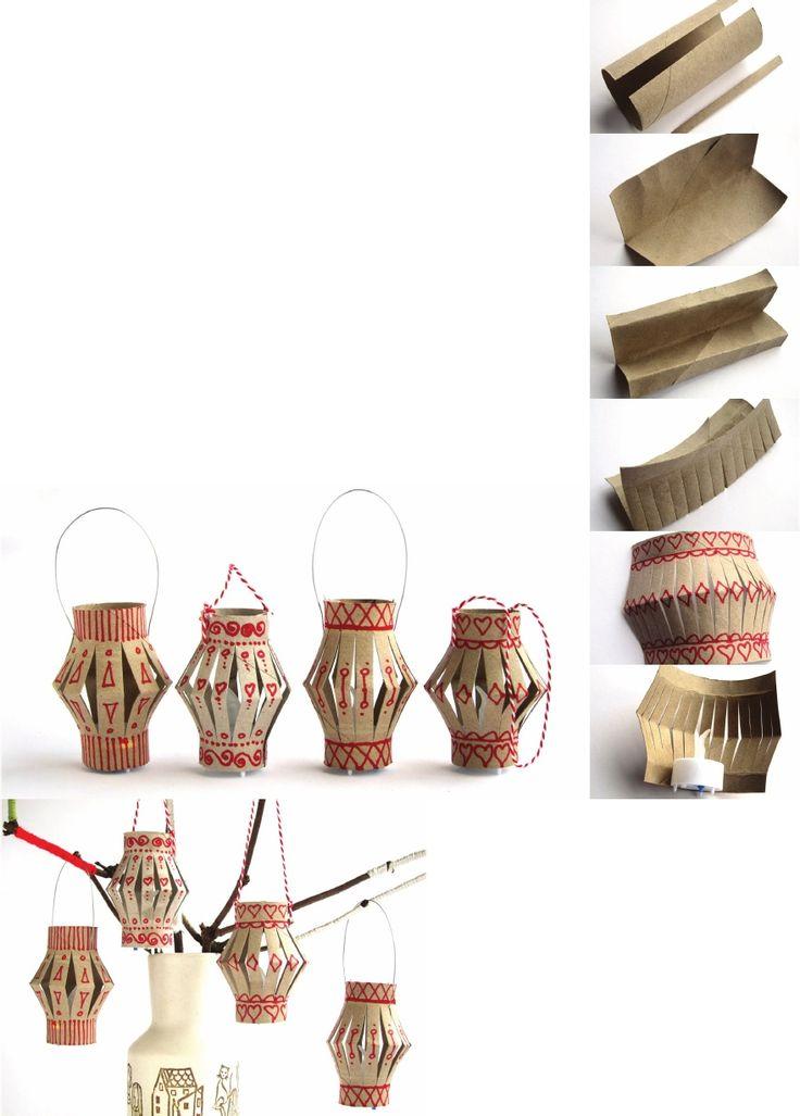 Tutorial paper roll christmas lantern kids crafts for Paper lantern tutorial