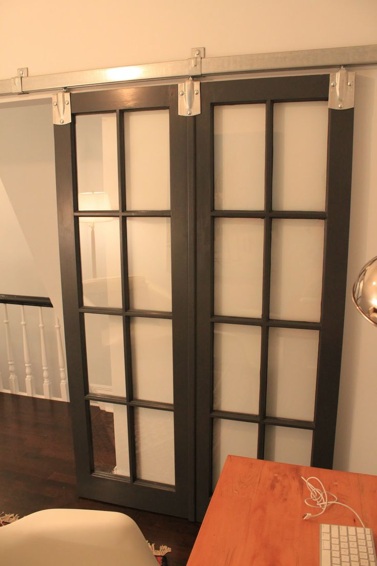 french doors on barn door track for the home pinterest