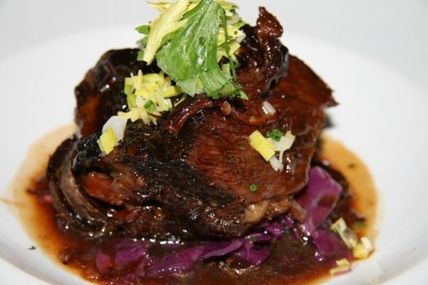 Braised Beef Short Ribs with Crispy Purple Majestic Potatoes, Chopped ...