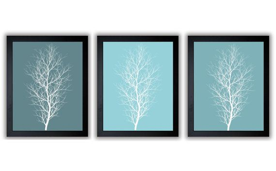 Teal trees abstract art modern minimalist print tree wall for Modern minimalist wall art
