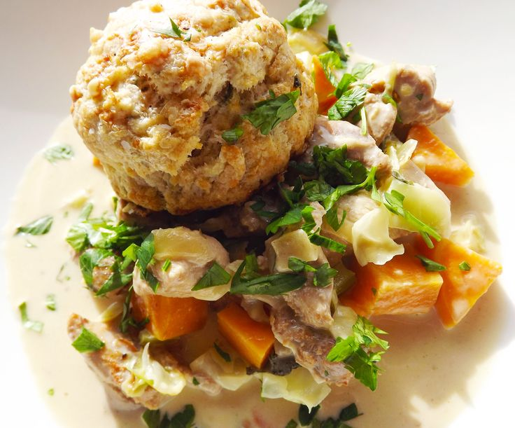 Turkey and Root Vegetable Stew served with a Parmesan and Herb Biscuit ...