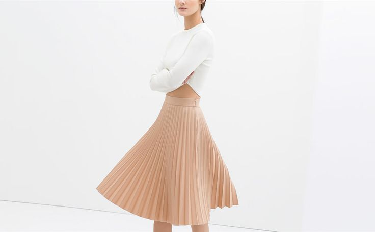 coated pleated skirt chic essential style
