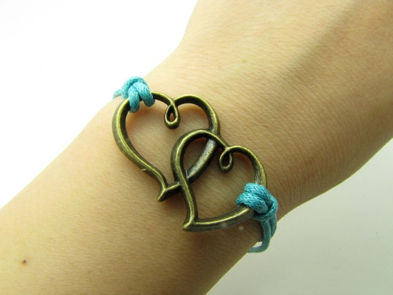 Vintage Style Bronze Hearts Pendant Blue Ropes by braceletcool, $3.99