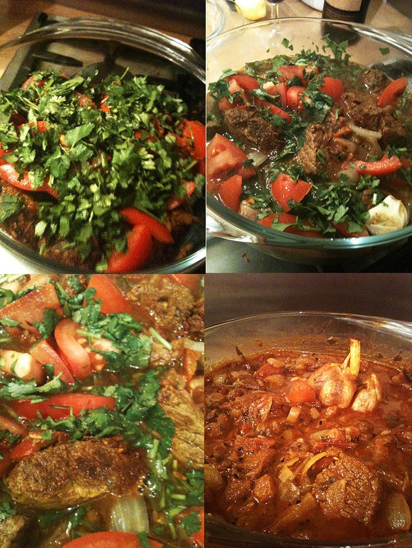 My own Angus beef and coriander casserole adapted from Elizabeth David ...