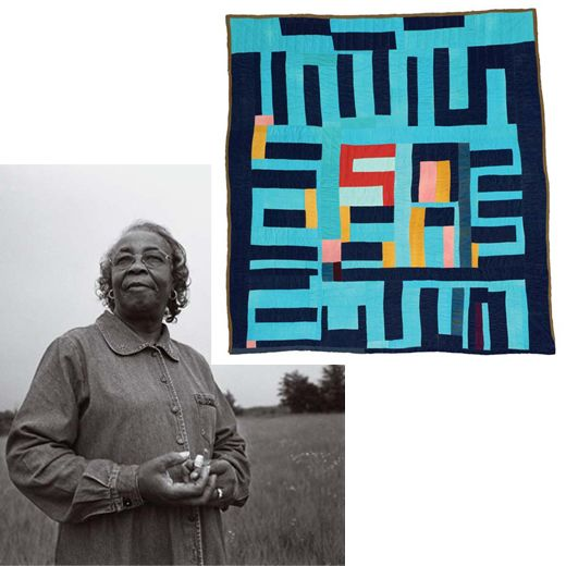 """Fabric of Their Lives"" at Smithsonian Magazine. MARY LEE BENDOLPH: ""Most of my ideas come from looking at things. I can walk outside in the yard and see ideas all around. Then, sitting down looking at a quilt, I get another idea."" [Mary Lee with her 2003 ""blocks and strips"" from the new show]"