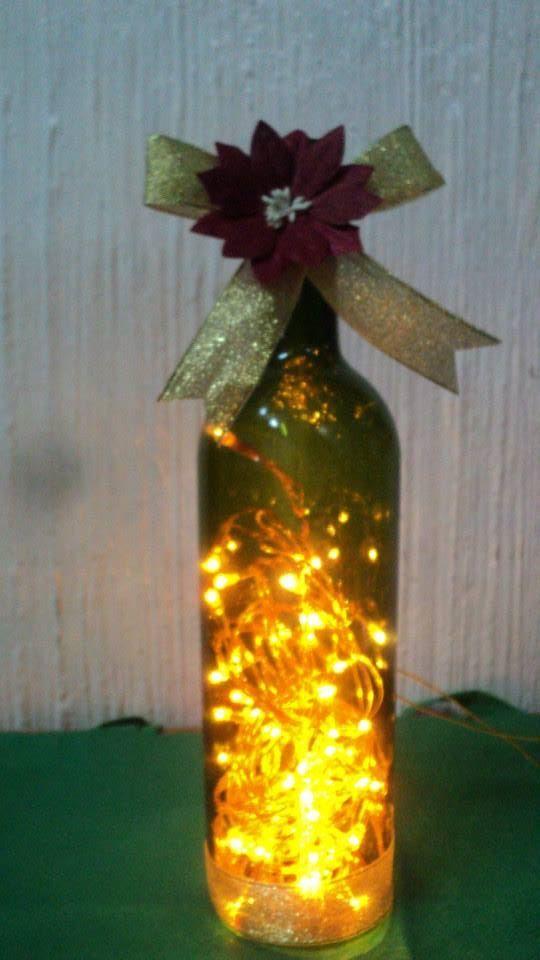Botellas decoradas con luces navide as navidad pinterest for Decoracion navidena centro de estetica