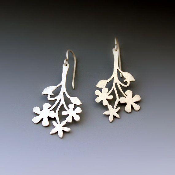 Floral Branch Sterling Silver Earrings by Lisa Hopkins Design
