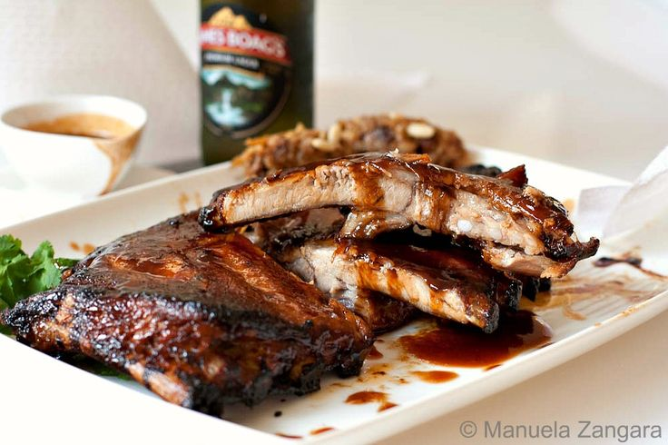 Balsamic, maple & miso glazed pork spare ribs with Sweet & Sour Cauli...