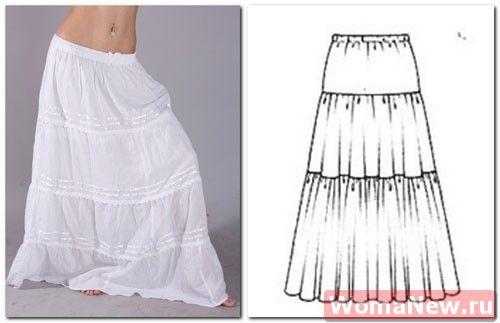 Как сшить длинную юбку с воланами