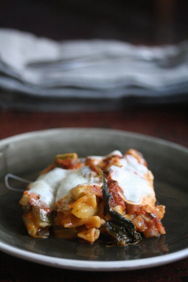 Gluten-Free Is Me: Skillet Lasagna with Zucchini, Arugula, and Fontina