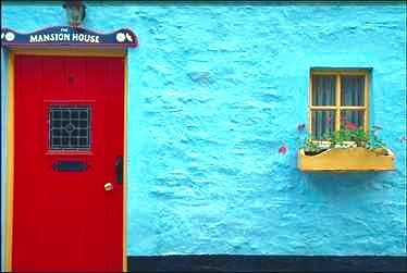 aqua wall - red door