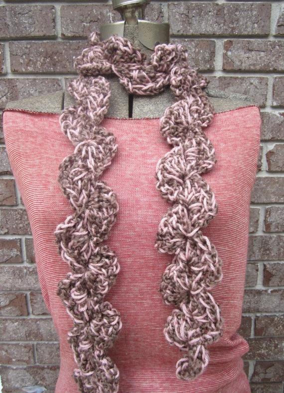 Crochet Scarf Patterns Zigzag : Scarf Crochet Scarf Brown Pink Zig Zag Pattern by ZigZagZella