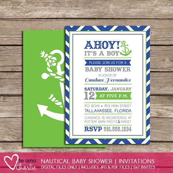 Ahoy! It39;s a Boy Nautical Baby Shower Invitations