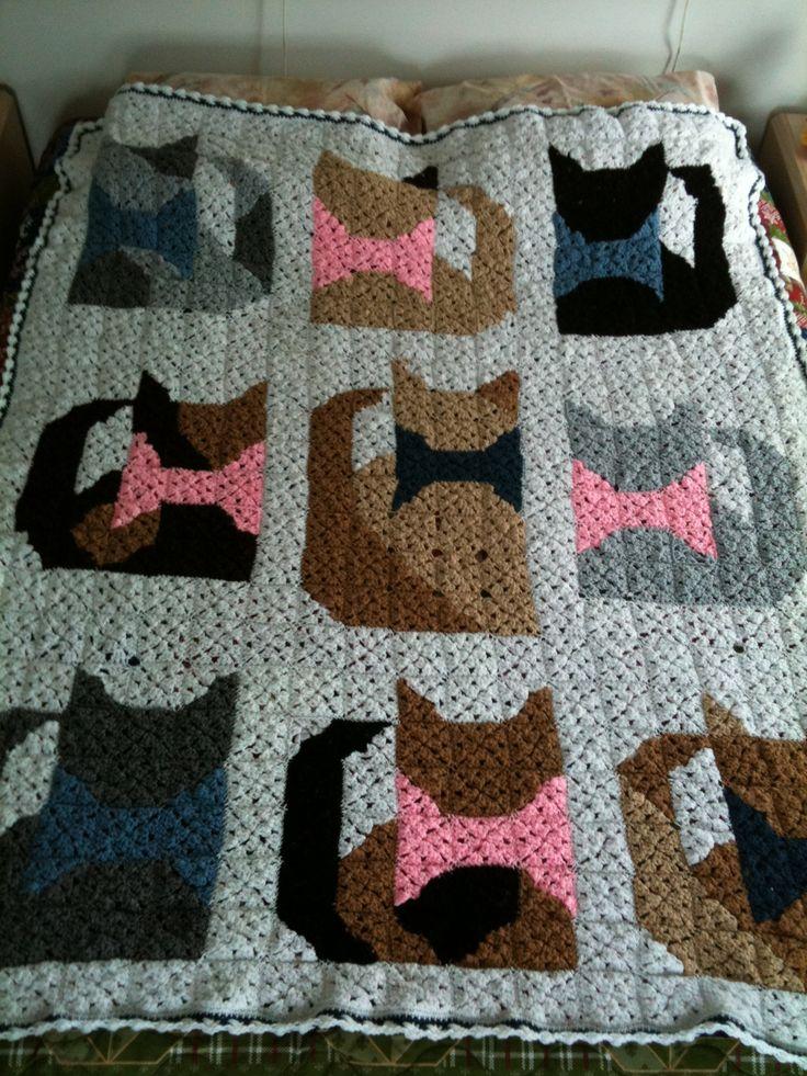 Crochet Cat Afghan Pattern : Cat Granny Square Afghan Crochet Pinterest