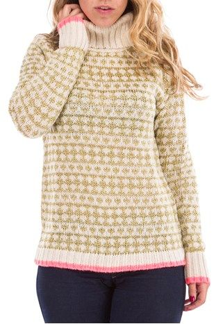 Knitted gold/neon sweater