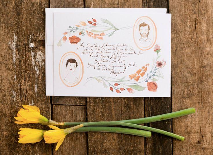 Illustrated Wedding Invitation - Floral Portraits hand drawn invitation set. $125.00, via Etsy.