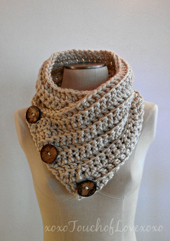 Free Crochet Pattern For Dallas Dream Scarf : Super soft Scarf Cowl Neckwarmer with 3 large buttons