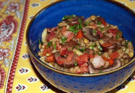 Lentil and Toasted Orzo Salad with Mushrooms and Bacon recipe on ...