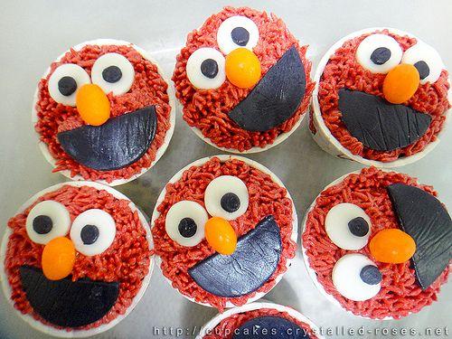 Sesame Street - Elmo red velvet cupcake | Sesame Street Birthday par ...
