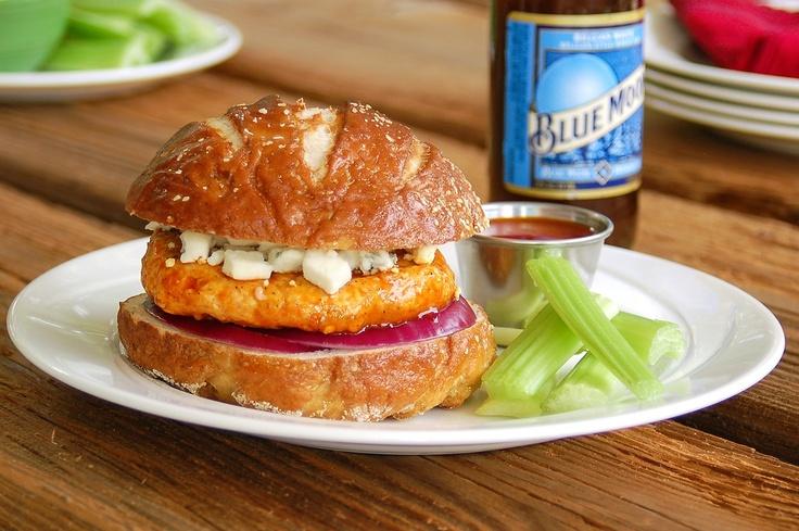 spicy buffalo chicken burger | Burgers & Fries | Pinterest