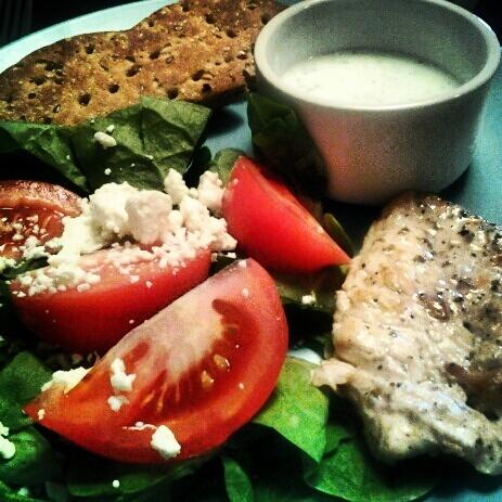 chicken souvlaki chicken souvlaki with tzatziki sauce and greek salad ...