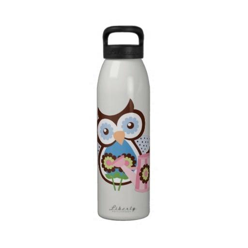 Cartoon Owl Liberty Water Bottle