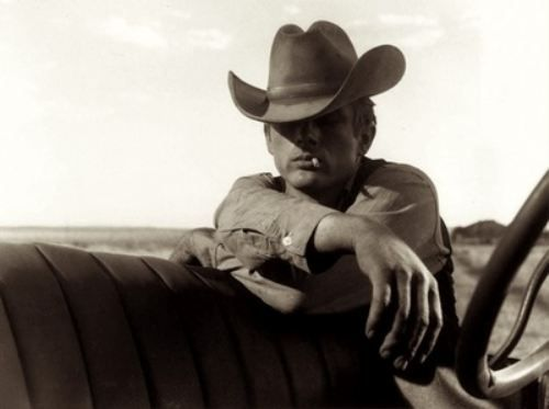 """James Dean on location for """"Giant"""" in Marfa, Texas, 1955"""