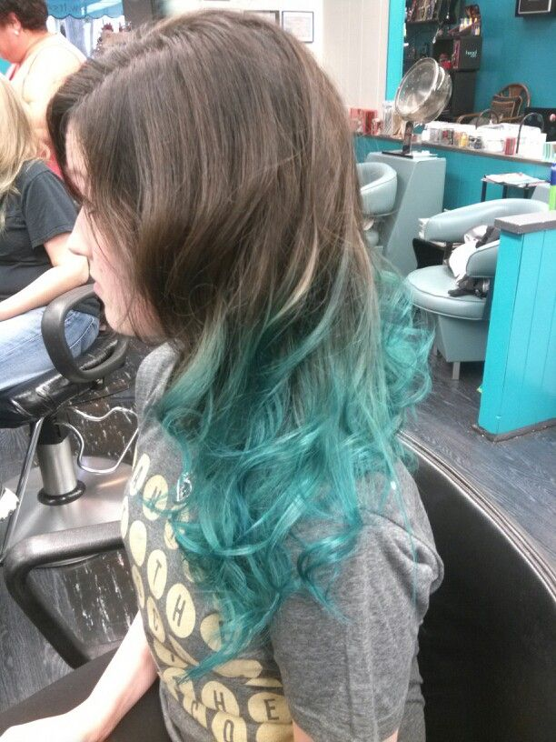Brown and teal hair ombre