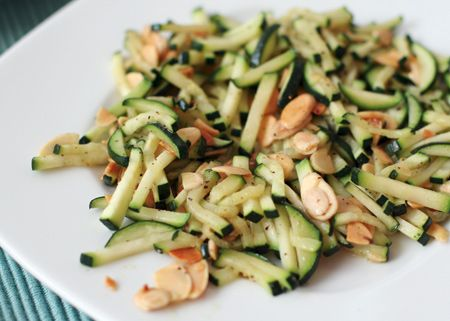 Quick Sauté of Zucchini with Toasted Almonds and Pecorino