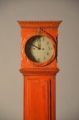 Danish Red Painted Tall Clock