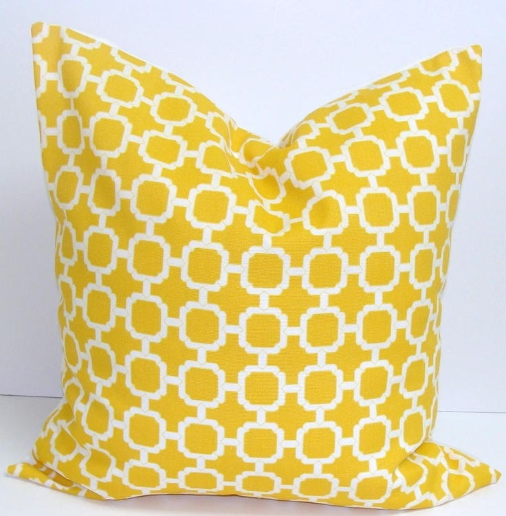 Yellow Pillow.20x20 inch.Decorator Throw Pillow Cover.Printed Fabric Front and Back.Indoor Outdoor.Bright Yellow Pillows. $18.00, via Etsy.