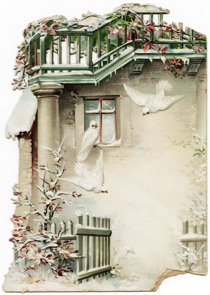 OldDesignShop_FreeWinterSceneBirds  (Many vintage images free)