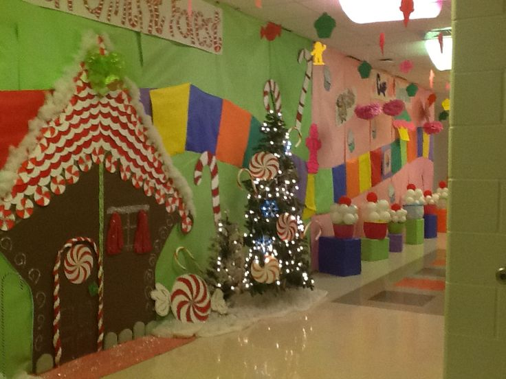 Candy land hall decorations after prom ideas pinterest for Christmas hall decorations