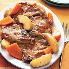 Braised Pork Chops with Sweet Potatoes and Apples Recipe