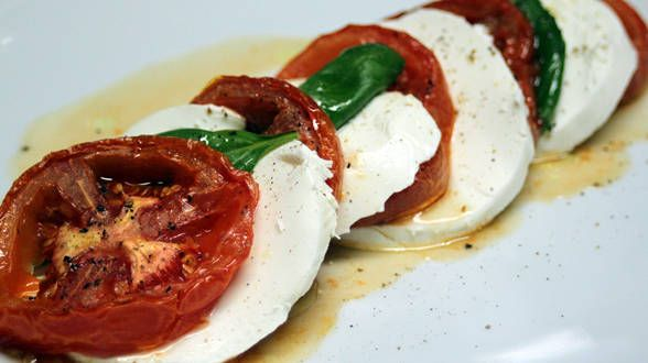 classic Caprese salad – here, Rach uses roasted tomatoes and smoked ...