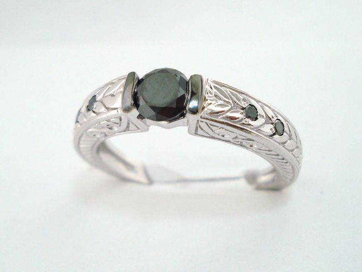 950 Platinum 0 49 Carat Black Diamonds Unique Engagement Ring Wedding…