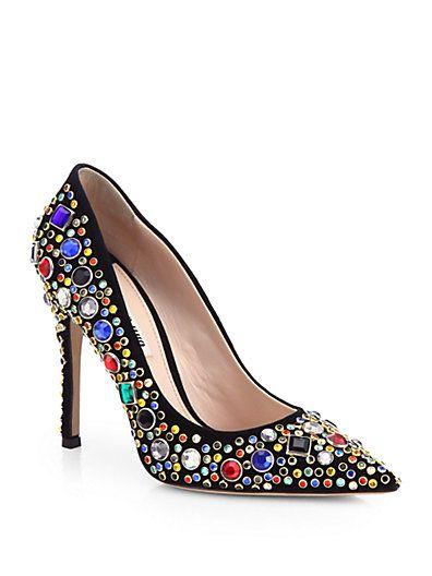Shop now: Miu Miu Donna Jeweled Suede Pumps