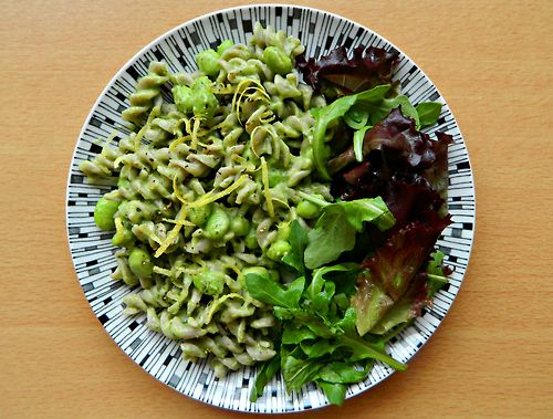 "15 Minute Creamy Avocado Pasta"" with edamame and a rocket salad. # ..."