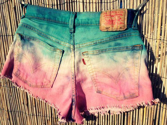 Vintage Levi's Denim High Waisted Shorts / Tie Dye Ombre / Studded